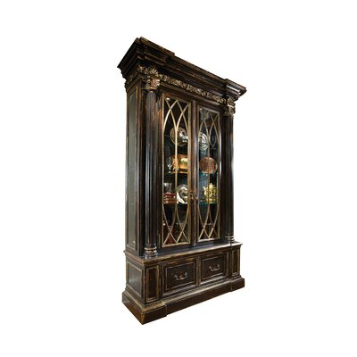 Finestra Lighted Curio Cabinet Color: Connoisseur - Muslin, Accents: Silver