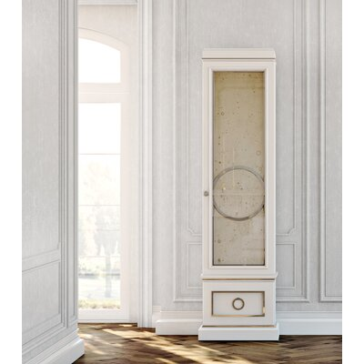 Astoria Lighted Curio Cabinet Color: Connoisseur - Muslin, Accents: Silver