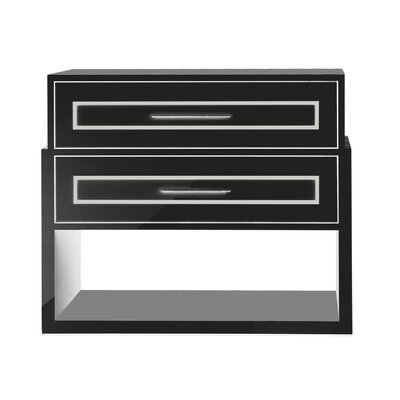 Moderne 2 Drawer Nightstand Color: Classic Studio - Sandemar, Accents: Champagne