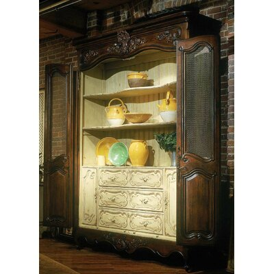 Louis XV China Cabinet with Glass Color: Classic Studio - Antique Honey, Accent Color: Silver