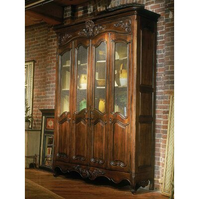 Louis XV China Cabinet Color: Classic Studio - Antique Honey, Accents: Silver