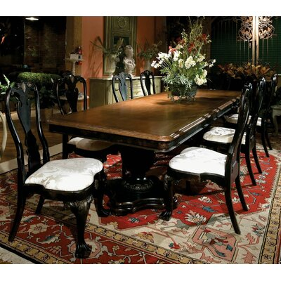 Le Clos Double Pedestal Extendable Dining Table Color: Connoisseur - Tricorn Black, Accents: None