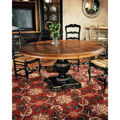 Stanford Pedestal Dining Table Color: Connoisseur - Devonshire, Accents: Champagne