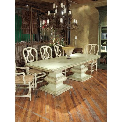 San Marco Double Pedestal Extendable Dining Table Color: Classic Studio - Graystone, Accents: Champagne
