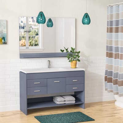 Carstens 48 Single Bathroom Vanity Set with Mirror Base Finish: Gray