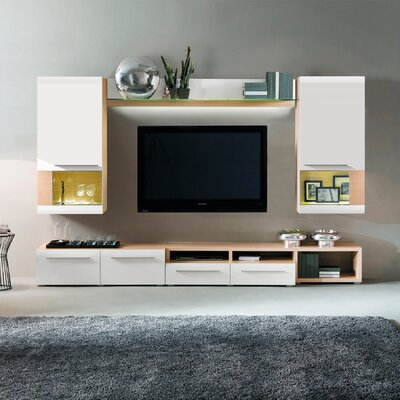 Clarksville Wall Unit Color: Light Oak/White