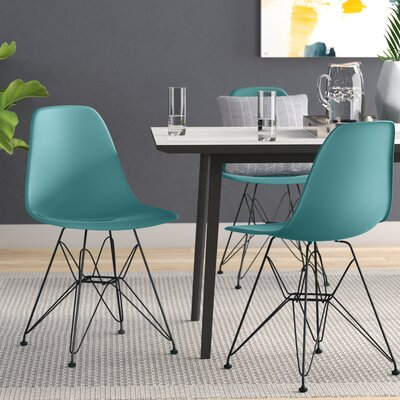 Cadet Side Chair (Set of 4) Frame Finish: Ocean Blue, Leg Finish: Chrome