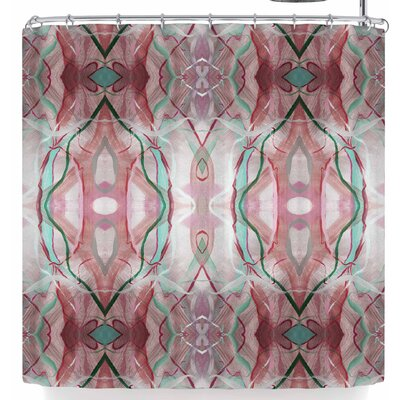 Nikposium Totem Azur Shower Curtain Color: Maroon Red