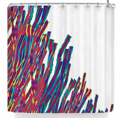 Frederic Levy-Hadida Ribbons Attack Shower Curtain Color: Blue/Pink