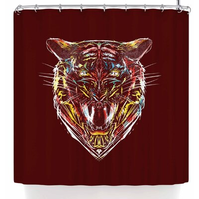 Frederic Levy-Hadida Stencil Tiger 2 Shower Curtain Color: Red