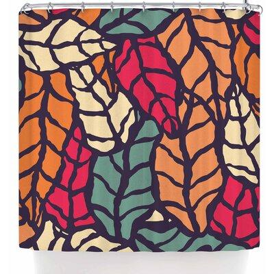 Bluelela Natural Leaves 003 Shower Curtain Color: Orange/Green
