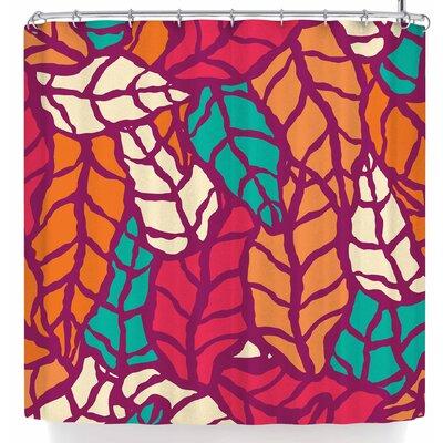 Bluelela Natural Leaves 003 Shower Curtain Color: Red/Orange