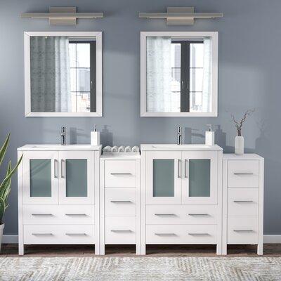 Karson Modern 72 Double Bathroom Vanity Set with Mirror Base Finish: White