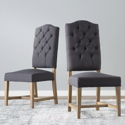 Nymphea Upholstered Dining Chair (Set of 2) Color: Charcoal
