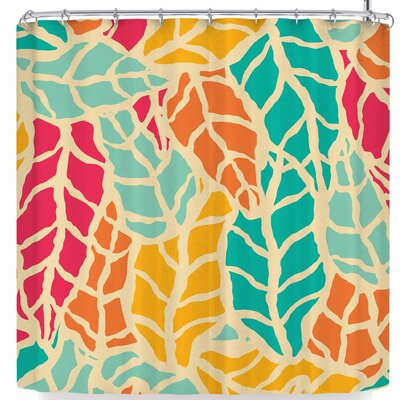Bluelela Natural Leaves 003 Shower Curtain Color: Teal/Yellow