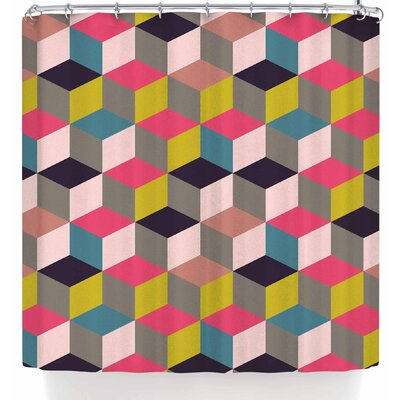 Bluelela Cube 004 Shower Curtain Color: Pink/Beige