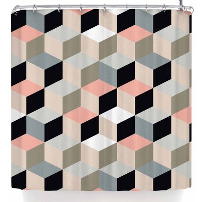 Bluelela Cube 004 Shower Curtain Color: Pink/Green