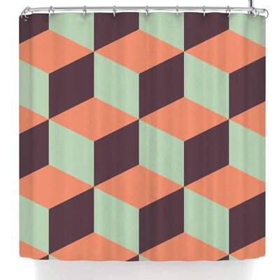 Bluelela Cube 003 Shower Curtain Color: Purple/Orange