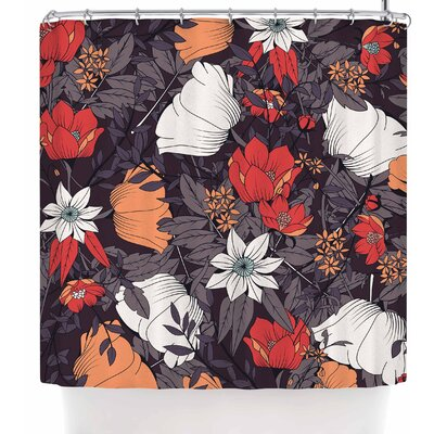 Bluelela Bohemian Botanical 002 Shower Curtain Color: Brown/Red