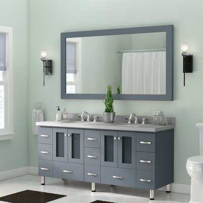 Kettner 73 Double Bathroom Vanity with Mirror Base Finish: Gray
