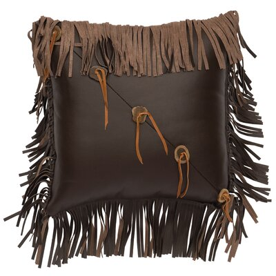 Fringe and Sliced Antler Buttons Leather Throw Pillow Size: 16 H x 16 W x 7 D