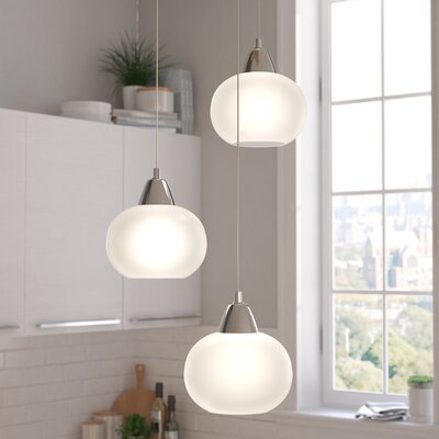 Leominster 3-Light Cascade Pendant Base Finish: Chrome, Shade Color: White