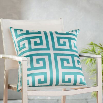 Gallia Geometric Faux Silk Outdoor Throw Pillow Color: Turquoise