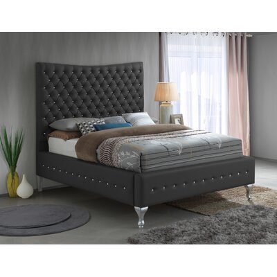 Kellems Tufted Upholstered Panel Bed Size: King, Color: Black