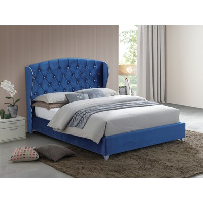 Keller Tufted Upholstered Panel Bed Size: Full, Color: Blue