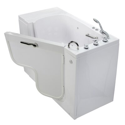 Transfer L Shape Wheelchair Accessible Air Massage Microbubble 52 x 30 Combination Bathtub Door Orientation: Right