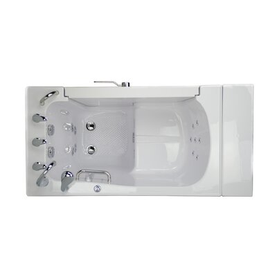 Transfer L Shape Wheelchair Accessible Hydro Massage Microbubble 52 x 30 Walk-in Combination Bathtub Door Orientation: Left