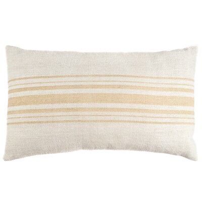 Camel Stripe Vintage Grain Sack Throw Pillow