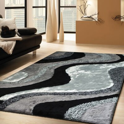 Pafford Shaggy Hand-Tufted Gray/Black Area Rug