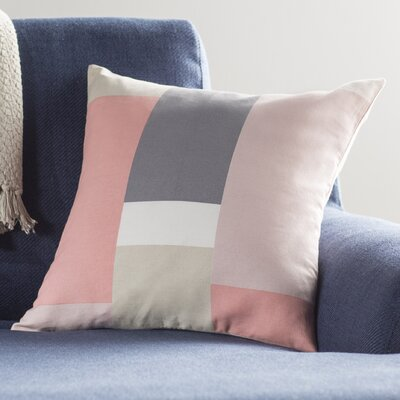 Aberdene Patchwork Cotton Throw Pillow Size: 18 H x 18 W x 4 D, Color: Pale Pink / Gray / Beige / White