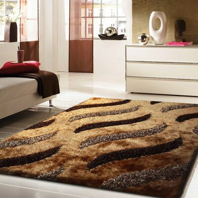 Pante Macassar Shaggy Hand-Tufted Brown Area Rug