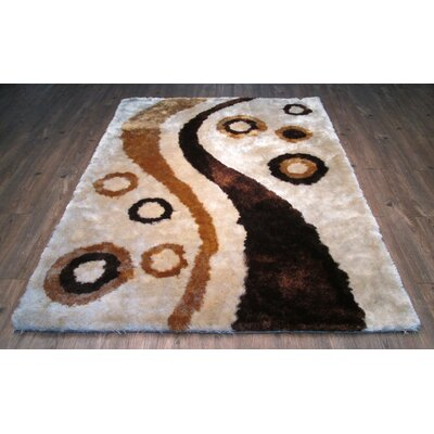 Yarbrough Hand-Tufted Beige/Brown Area Rug Rug Size: Rectangle 76 x 103