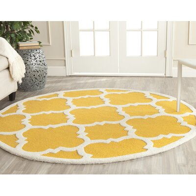 Martins Hand-Tufted Gold/Ivory Area Rug Rug Size: Round 8