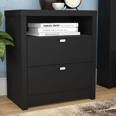 Oleanna 2 Drawer Wood Nightstand Color: Black