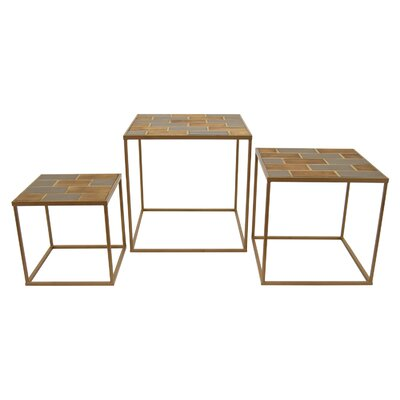 Helmick Wood and Metal 3 Piece Nesting Tables