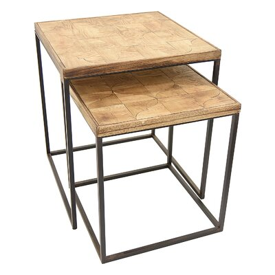 Chandler Wood and Metal 2 Piece Nesting Tables
