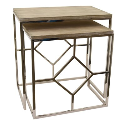 Hartness Metal and Wood 2 Piece Nesting Tables