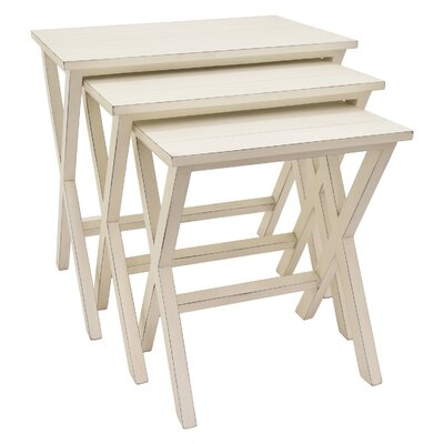 Mabery 3 Piece Nesting Tables Color: White