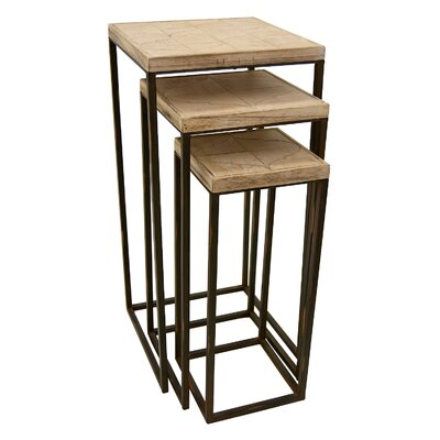 Champaign Wood and Metal Nesting Tables