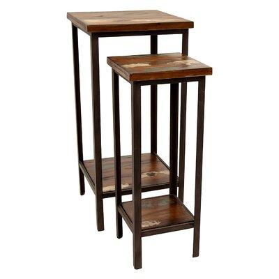 Faucher Wood and Metal 2 Piece Nesting Tables