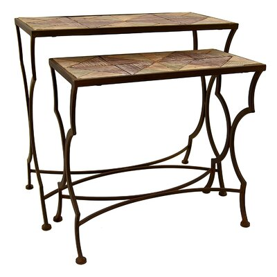 Faulk Metal and Wood 2 Piece Nesting Tables