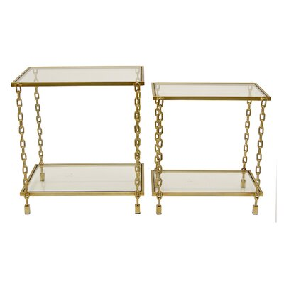Kessinger Decorative Glass 2 Piece End Tables