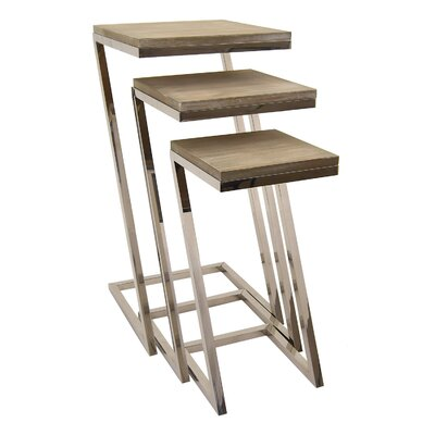 Hartline Metal and Wood 3 Piece Nesting Tables