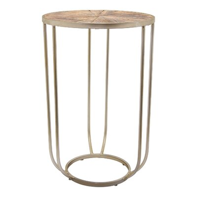 Lemen Metal and Wood End Table