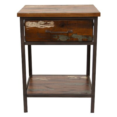 Palladino Wood and Metal End Table