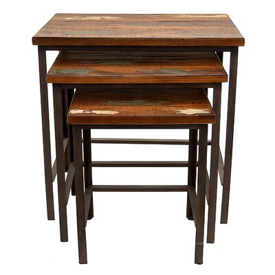 Palma Wood and Metal 3 Piece Nesting Tables
